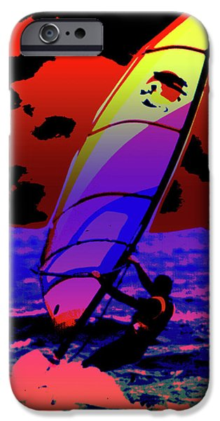 Abstract Digital Art Mixed Media iPhone Cases - Windsurfer iPhone Case by Brian Roscorla