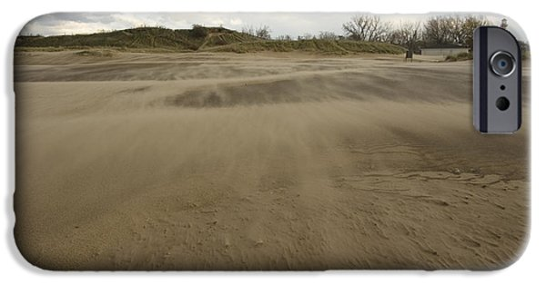 Best Sellers -  - Turbulent Skies iPhone Cases - Windswept landscape on beach iPhone Case by Christopher Purcell