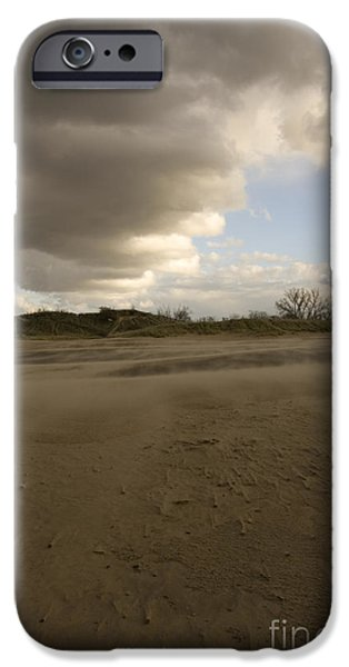 Best Sellers -  - Turbulent Skies iPhone Cases - Windswept vista on Great Lakes beach iPhone Case by Christopher Purcell
