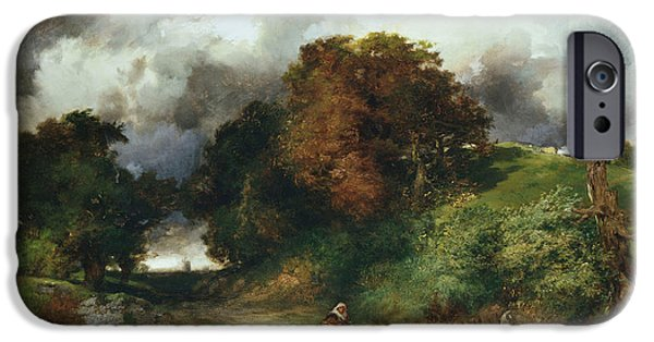 Country Lanes iPhone Cases - Windy Hilltop iPhone Case by Thomas Moran