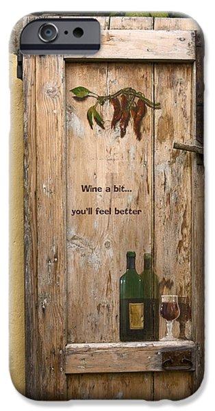 Aberto iPhone Cases - Wine a Bit Door iPhone Case by Sally Weigand