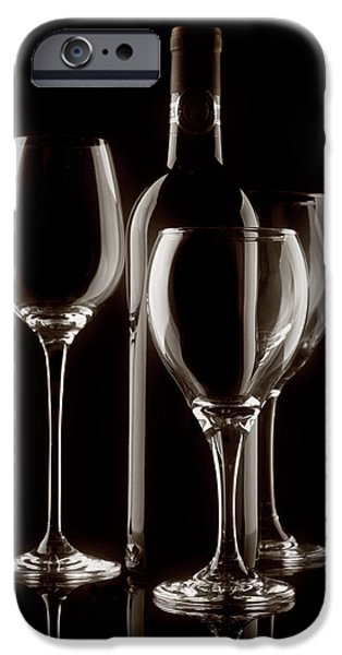 Vino Photographs iPhone Cases - Wine Bottle and Wineglasses Silhouette II iPhone Case by Tom Mc Nemar