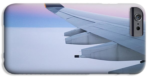 Cabin Window iPhone Cases - Wing and Engines of Jet in Flight iPhone Case by Jeremy Woodhouse