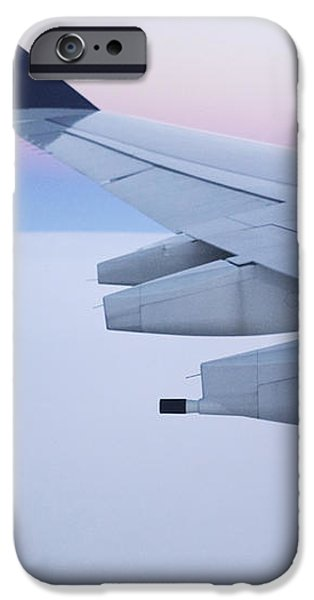 Wing and Engines of Jet in Flight iPhone Case by Jeremy Woodhouse