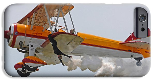 Barnstormer Photographs iPhone Cases - Wing Walker 01 iPhone Case by Jeff Stallard