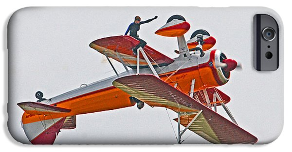 Barnstormer Photographs iPhone Cases - Wing Walker 02 iPhone Case by Jeff Stallard