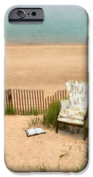 Fanciful iPhone Cases - Wingback Chair at the Beach iPhone Case by Jill Battaglia