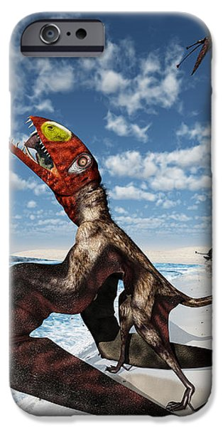 Winged Dimorphodon Pluck Fish iPhone Case by Walter Myers