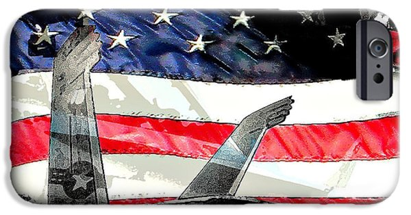 Jet Star iPhone Cases - Wings of Stars and Stripes iPhone Case by David L Thomas