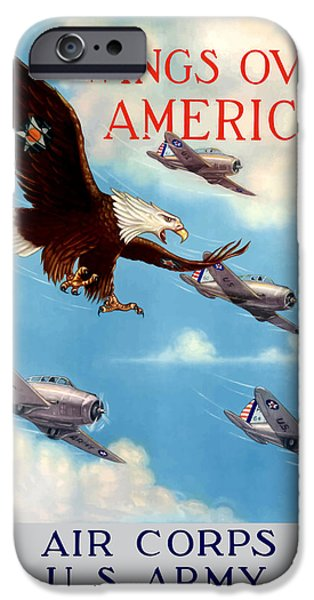Americana iPhone Cases - Wings Over America iPhone Case by War Is Hell Store