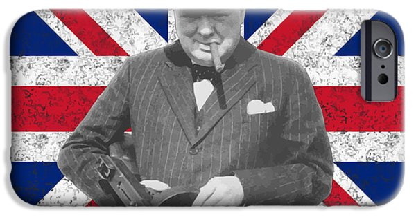 Statesman iPhone Cases - Winston Churchill and His Flag iPhone Case by War Is Hell Store