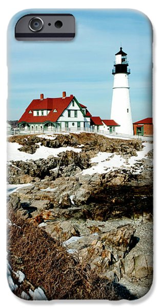 New England Lighthouse iPhone Cases - Winter at Portland Head iPhone Case by Greg Fortier
