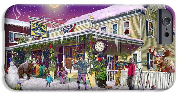 Dogs iPhone Cases - Winter at Zebs General Store in North Conway NH iPhone Case by Nancy Griswold