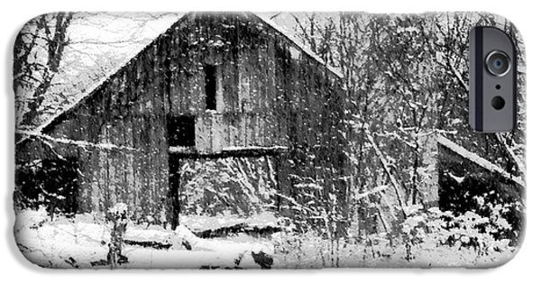 Old Barn Paintings iPhone Cases - Winter Barn iPhone Case by Ryan Burton