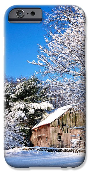 Old Barns iPhone Cases - Winter Barn Scene-Warren Ct iPhone Case by Thomas Schoeller