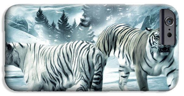 The Tiger Digital Art iPhone Cases - Winter Deuces iPhone Case by Lourry Legarde