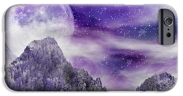 Snowy Night Mixed Media iPhone Cases - Winter Dreamscape iPhone Case by Anthony Citro