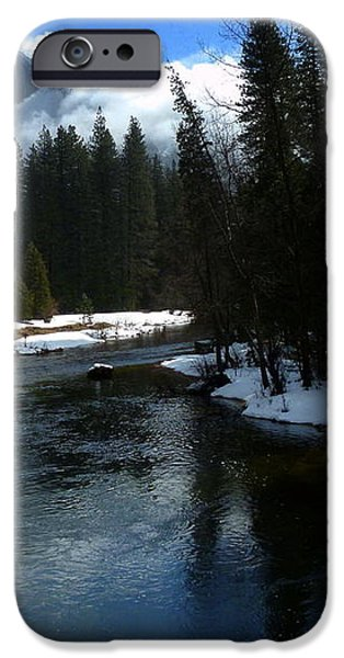 Winter Half Dome And The Merced River iPhone Case by Jeff Lowe