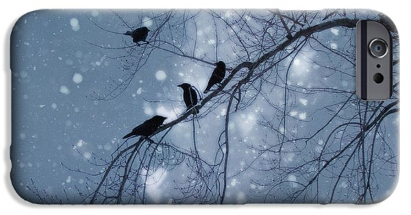 Nature Scene iPhone Cases - Winter Hearts iPhone Case by Gothicolors Donna Snyder