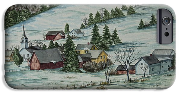Chatham Paintings iPhone Cases - Winter In East Chatham Vermont iPhone Case by Charlotte Blanchard