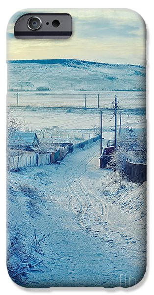 Wintertime iPhone Cases - Winter in Romanian countryside iPhone Case by Gabriela Insuratelu