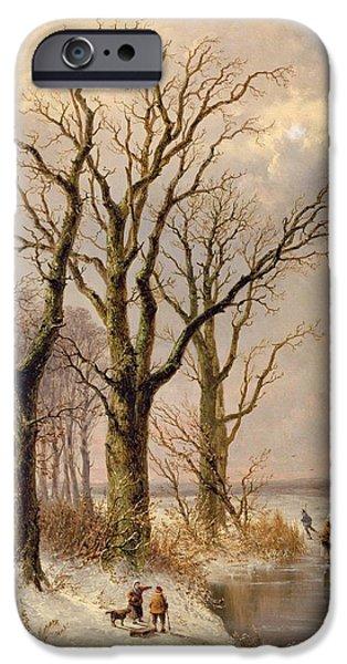 Snow iPhone Cases - Winter landscape with faggot gatherers conversing on a frozen lake iPhone Case by Josephus Gerardus Hans