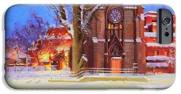 Rooftop iPhone Cases - Winter Lorreto chapel iPhone Case by Gary Kim