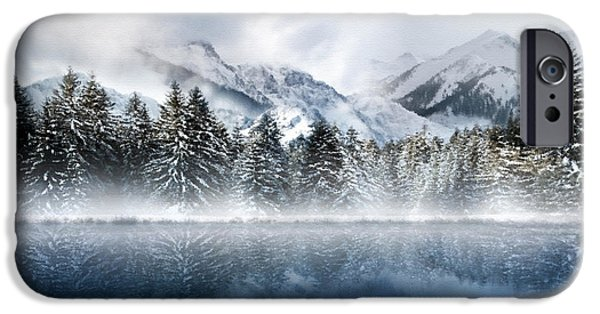 Snowy Mixed Media iPhone Cases - Winter Mist iPhone Case by Svetlana Sewell