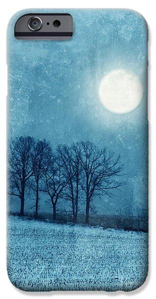 Snowy Night iPhone Cases - Winter Moon over Farm Field iPhone Case by Jill Battaglia