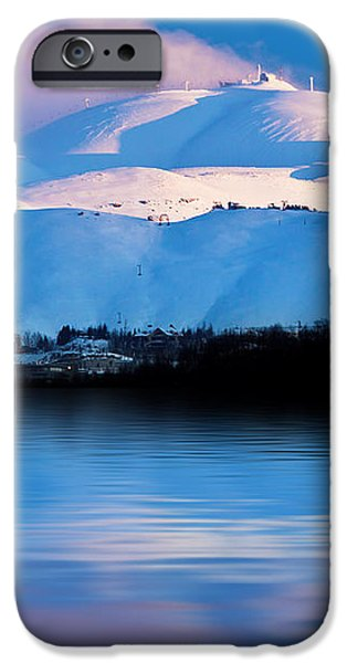 Winter mountains and lake snowy landscape iPhone Case by Anna Omelchenko