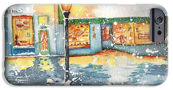Prescott Paintings iPhone Cases - Winter on Whiskey Row Prescott Arizona iPhone Case by Sharon Mick
