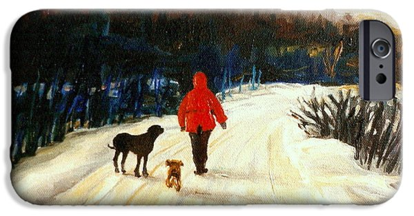 Dog In Landscape iPhone Cases - Winter Road Quebec Laurentian Landscape iPhone Case by Carole Spandau