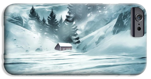 Red Barn In Winter iPhone Cases - Winter Seclusion iPhone Case by Lourry Legarde