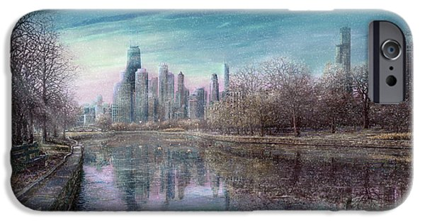 Park Scene Paintings iPhone Cases - Winter Serenity Snow iPhone Case by Doug Kreuger
