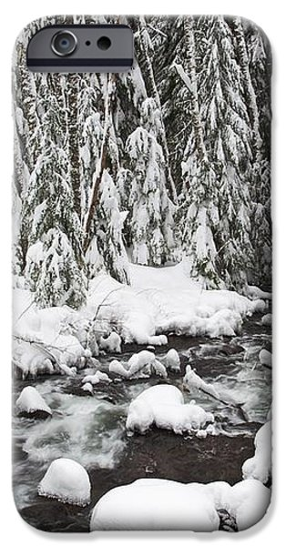 Winter Snow Along Still Creek In Mt iPhone Case by Craig Tuttle