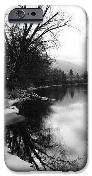 Winter Tree Reflection - Black and White iPhone Case by Carol Groenen