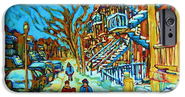 Montreal Storefronts Paintings iPhone Cases - Winter  Walk In The City iPhone Case by Carole Spandau