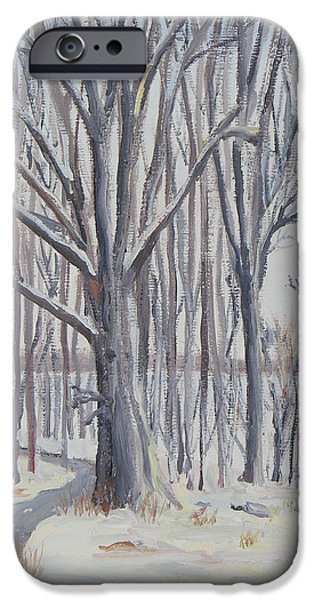 Nature Center Paintings iPhone Cases - Winter Walk iPhone Case by Robert P Hedden