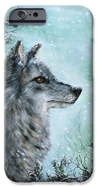Snow Scene iPhone Cases - Winter Wolf iPhone Case by Wanda Burton