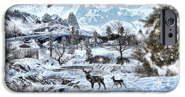 Snowy Digital iPhone Cases - Winter Wonderland iPhone Case by Lourry Legarde