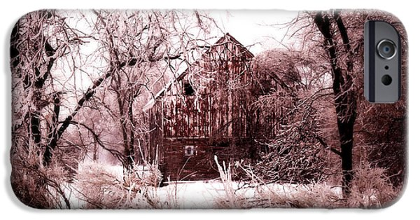 Shed Digital Art iPhone Cases - Winter wonderland Pink iPhone Case by Julie Hamilton