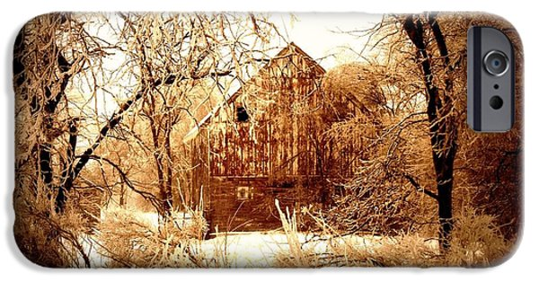 Barnyard Digital Art iPhone Cases - Winter Wonderland Sepia iPhone Case by Julie Hamilton