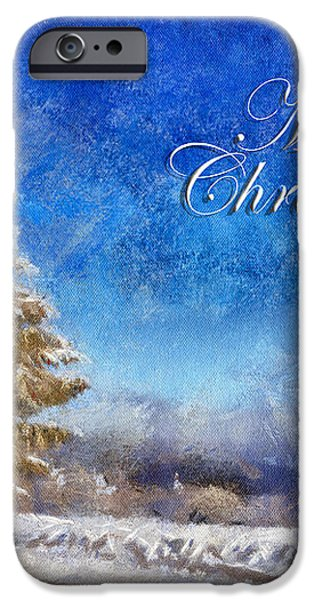 Wintry Christmas Tree Greeting Card iPhone Case by Lois Bryan