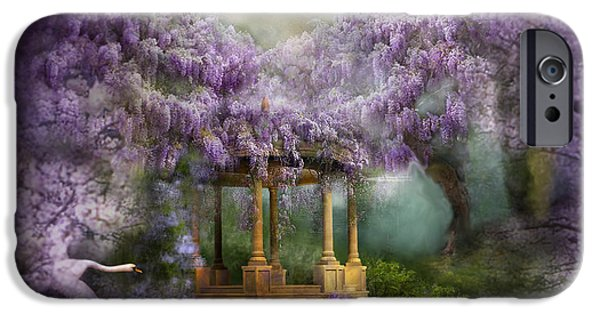 Swan iPhone Cases - Wisteria Lake iPhone Case by Carol Cavalaris