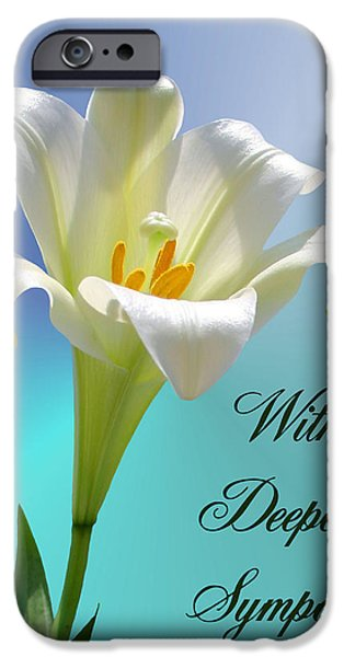 Sympathy iPhone Cases - With Deepest Sympathy iPhone Case by Kristin Elmquist