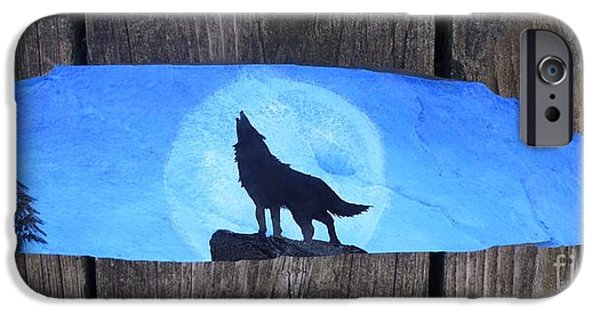 Native Sculptures iPhone Cases - Wolf Howl1 iPhone Case by Monika Shepherdson