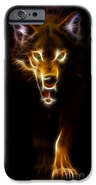 Wolf iPhone Cases - Wolf Ready to Attack iPhone Case by Pamela Johnson