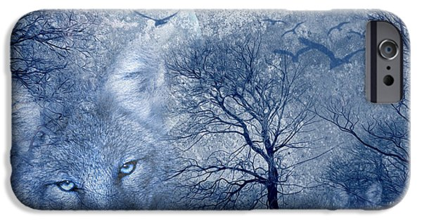 Sun Rays Mixed Media iPhone Cases - Wolf iPhone Case by Svetlana Sewell