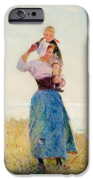 Woman In A Dress iPhone Cases - Woman and Child in a Meadow iPhone Case by Hector Caffieri