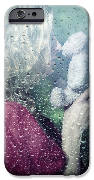 Raindrops iPhone Cases - Woman And Teddy iPhone Case by Joana Kruse